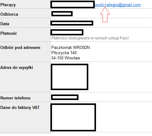 69dd84116998c8 Wysyłka na PACZKOMAT a e-mail zawierający znak